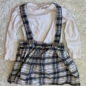 Plaid suspenders skirt with long sleeve onesie